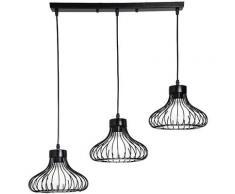 Lustre Suspension 3 Lumières Cage Luminaire Moderne E27 pour Chambre Salon Bar Noir