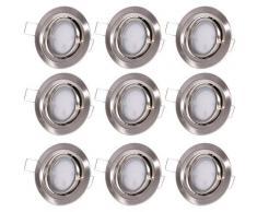 Etc-shop - 9x plafonniers à LED encastrés Spot ALU lampes spot de salle de bain orientables