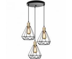 Suspension Luminaire Industrielle,design diamant cage lampe plafonnier vintage en métal Abat-jour