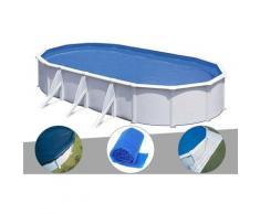 Kit piscine acier blanc Fidji ovale 7,44 x 3,99 x 1,22 m + Bâche hiver + Bâche à bulles + Tapis de