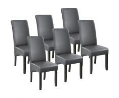 Tectake - Lot de 6 chaises aspect cuir - lot de 6 chaises salle a manger, chaises de cuisine,