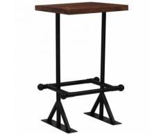 Hommoo Table de bar Bois de récupération massif Marron 60x60x107 cm