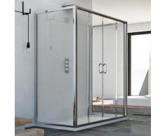 Cabine douche à trois côtés 70x150x70 CM H185 trasparent modèle Replay Trio avec 2 portillons