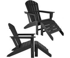 Tectake - Lot de 2 chaises de jardin JANIS avec repose-pieds JOPLIN - fauteuil avec repose-pieds,