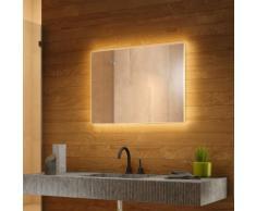 Miroir Rétro-Éclairé pour salle de bain avec Capteur et Prise Rasoir k708BL - multi-couleur