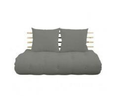 Canapé lit futon SHIN SANO gray et pin massif couchage 140*200 cm. - gris