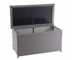 Coffre à coussins en polyrotin, HHG-570, coffre jardin ~ Basic gris, 51x100x50 cm, 170l