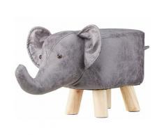 Tabouret chaise pour enfant motif animal éléphant gris rembourré avec mousse repose-pieds pieds en