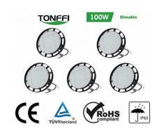 5×Tonffi UFO LED 100W Dimable Thare de Travail LED Lustre Industriel 12000LM Haute Baie d'Éclairage