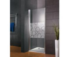 Porte de douche pivotante, 80 x 192 cm, verre 5 mm anticalcaire, profilé aspect chromé, Style 2.0,