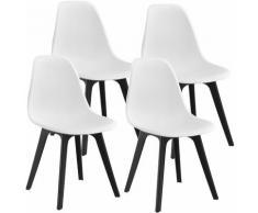 Décoshop26 - Set de 4 Chaises Design Chaise de Cuisine Salle à Manger Plastique Blanc et Noir - noir