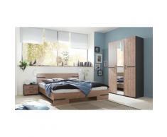 Pegane - Chambre à coucher complète adulte (lit 160x200cm + 2 chevets + armoire) coloris effet bois