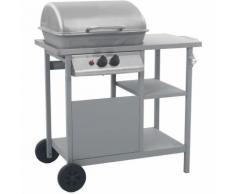 Barbecue à gaz avec tablette à 3 couches Noir et argenté