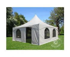 Tente de réception Pagode PartyZone 5x5m, PVC, Blanc