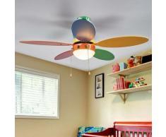 Ventilateur de plafond avec lampe 'Corinna' en bois pour chambre d'enfant