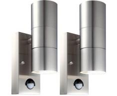 Ensemble de 2 appliques LED en acier inoxydable, détecteur de mouvement STYLE