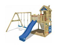 WICKEY Aire de jeux Portique bois Smart Lodge 120 avec balançoire et toboggan bleu Cabane enfant