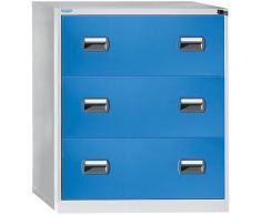 Classeur pour dossiers suspendus - 2 rangées, 3 tiroirs - gris clair / bleu clair - Coloris façade: