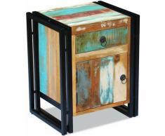 Helloshop26 - Table de nuit chevet commode armoire meuble chambre bois de récupération massif - Bois