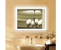 Miroir Salle de Bain Miroir Mural 80*60CM en Mercure Nouvelle Génération Anti-Brouillard Bouton