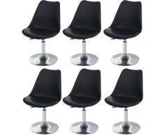 HHG - 6x chaise pivotante Malmö T501, hauteur réglable, similicuir ~ noir