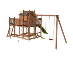 Aire de jeux pour enfant maisonnette avec portique et corde à grimper - COTTAGE HAPPY sans option