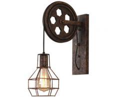 2PCS Fer Applique Murale Poulie E27 LOFT Style Industrielle Lampe Luminaire Escalier Couloir