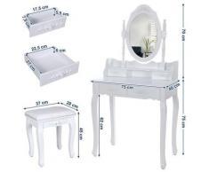 ®Coiffeuse meuble,Table de maquillage Commode avec1 miroir et 4 Tiroirs 40*75*75cm - Bathrins