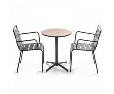 Ensemble de jardin table ronde (Ø60 x 72 cm) et 2 fauteuils Tivoli - Naturel - Marron