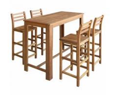 Hommoo Table et chaises de bar 5 pcs Bois d'acacia massif