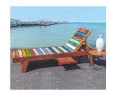 Chaise longue en teck vieilli et coloré Multicolore 200.00 cm x 66.00 cm x 35.00 cm