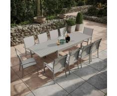 Avril Paris - Table de jardin extensible aluminium 135/270cm + 10 fauteuils empilables textilène