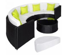 Salon de jardin COLISEUM - 1 Canapé, 1 Table en Résine Tressée et en Aluminium + 5 Oreillers + 1