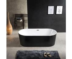 Sanita - Baignoire ilot ovale en acrylique, Noir mat 170 cm - Cleo