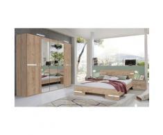 Pegane - Chambre à coucher complète adulte (lit 140x190 cm + 2 chevets + armoire) coloris imitation