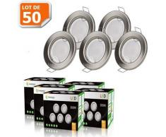 LOT DE 50 SPOT LED ENCASTRABLE COMPLETE RONDE FIXE ALU BROSSE eq. 50W BLANC CHAUD