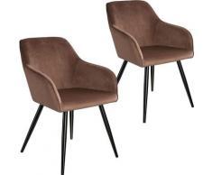 Tectake - Lot de 2 chaises velours MARILYN pieds noirs - chaise de salle à manger, chaise de