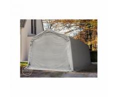 3,3x6,0m carport, garage - hauteur d'entrée 2,1m, PVC haute densité env. 720 g/m², gris