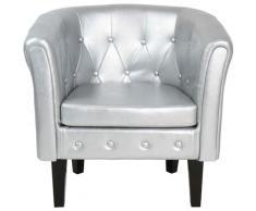 Helloshop26 - Fauteuil chesterfield avec repose pied en simili cuir avec éléments décoratifs