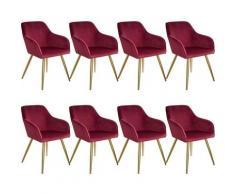 Lot de 8 chaises velours MARILYN pieds dorés - chaise de salle à manger, chaise de cuisine, chaise