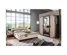 Chambre à coucher complète adulte (lit 160x200cm + 2 chevets + armoire) coloris chêne -PEGANE-