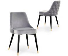 Lot de 2 chaises capitonnées en velours gris DORINA