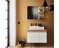 Meuble avec vasque à poser Sully, 103 x 45,80 - vasque a gauche, blanc et chene Quebec, sans miroir