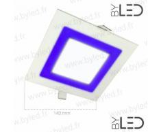 Byled ® - Spot LED bicolore 12W + 3W - Biton 15 Carré | Température de couleur Blanc Pur + Bleu