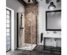 Porte de douche pivotante + paroi de retour fixe, verre 5 mm anticalcaire, style atelier