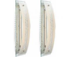 Lot de 2 appliques LED lampes d'éclairage chrome verre dépoli plafonniers glacés spots