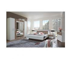 Chambre à coucher complète adulte (lit 160x200cm + 2 chevets + armoire + commode) coloris blanc/