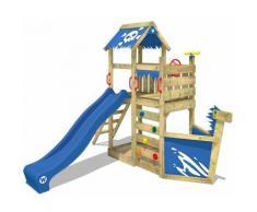 Aire de jeux Portique bois SpookyFlyer avec toboggan bleu Cabane enfant exterieur avec bac à sable,