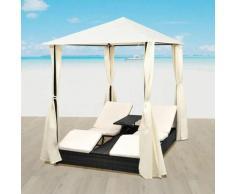 Chaise longue double avec rideaux Résine tressée Noir HDV27356 - Hommoo