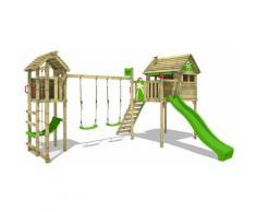 FATMOOSE Aire de jeux Portique bois FunFactory avec balançoire TowerSwing et toboggan vert pomme